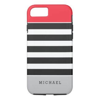 Nombre gris rojo del monograma de las rayas funda iPhone 7