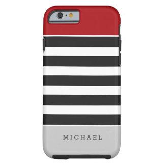 Nombre gris rojo del monograma de las rayas funda para iPhone 6 tough