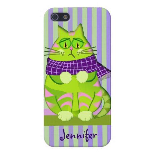 Nombre gruñón del gato y del personalizado iPhone 5 carcasas
