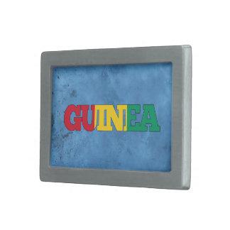Nombre guineano y bandera en la pared fresca hebillas cinturon rectangulares