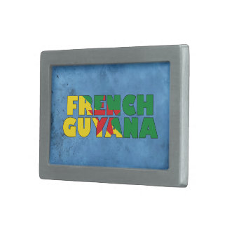Nombre guyanés francés y bandera en la pared hebillas de cinturón rectangulares