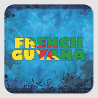 Nombre guyanés francés y bandera en la pared pegatina cuadrada