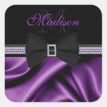 Nombre impreso púrpura elegante del personalizado  calcomanías cuadradases