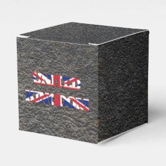 Nombre inglés y bandera cajas para regalos de boda