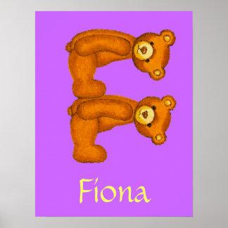 Nombre inicial de Letter~Custom del alfabeto del o Poster
