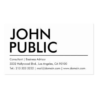 Nombre intrépido blanco llano simple tarjetas de visita