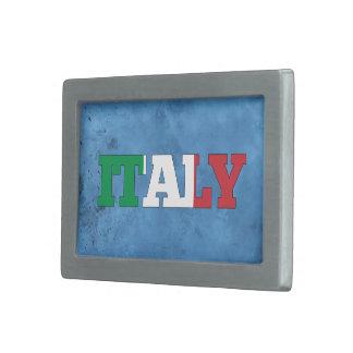 Nombre italiano y bandera en la pared fresca hebilla de cinturón rectangular