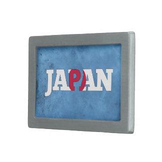 Nombre japonés y bandera en la pared fresca hebilla de cinturón rectangular