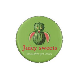 Nombre jugoso del personalizable del búho de la sa latas de dulces