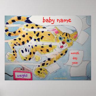 Nombre lindo del bebé del nacimiento del dibujo an poster