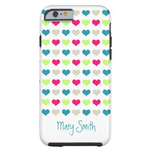 Nombre lindo del personalizado de los corazones funda de iPhone 6 tough