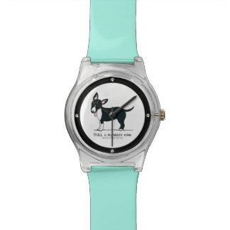 Nombre medio miniatura coloreado de bull terrier relojes de mano