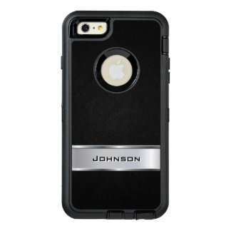 Nombre metálico de plata negro elegante del funda otterbox para iPhone 6/6s plus