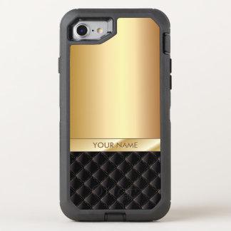 Nombre moderno del negro y del oro funda OtterBox defender para iPhone 7