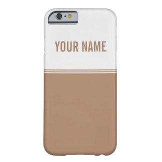 Nombre moderno del personalizado de Brown de la Funda De iPhone 6 Barely There