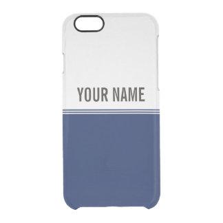 Nombre moderno del personalizado de los azules funda clearly™ deflector para iPhone 6 de uncommon