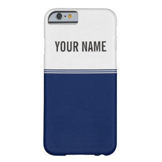 Nombre moderno del personalizado de los azules funda para iPhone 6 barely there