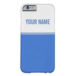 Nombre moderno del personalizado del azul real de funda de iPhone 6 barely there