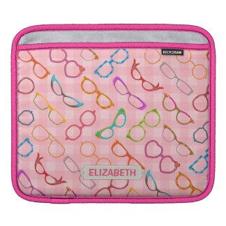 Nombre moderno retro de la guinga del rosa del funda para iPads