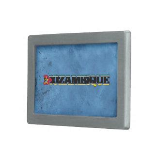 Nombre mozambiqueño y bandera en la pared fresca hebillas de cinturón rectangulares