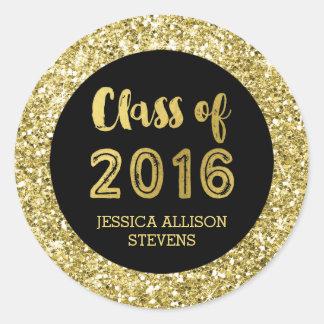 Nombre negro del personalizado de la graduación pegatina redonda