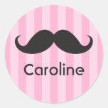 Nombre negro divertido del rosa del bigote del pegatinas redondas