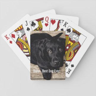 Nombre negro personalizado de la foto del perro naipes