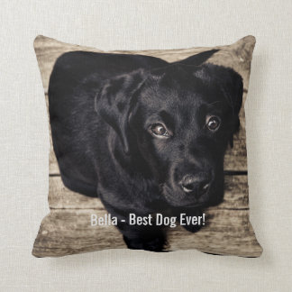 Nombre negro personalizado de la foto del perro cojín