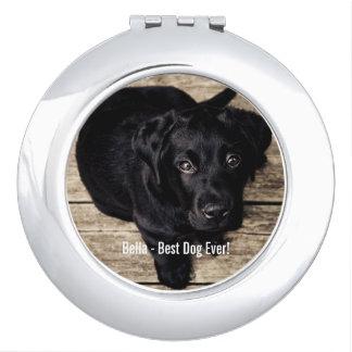 Nombre negro personalizado de la foto del perro espejos de viaje