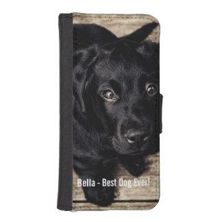 Nombre negro personalizado de la foto del perro funda tipo cartera para iPhone 5