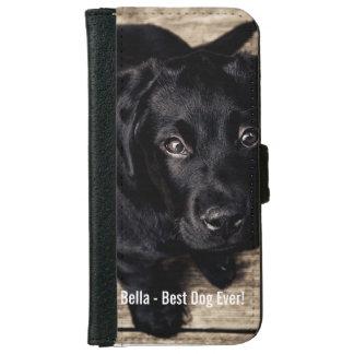 Nombre negro personalizado de la foto del perro funda cartera para iPhone 6