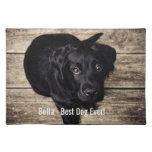 Nombre negro personalizado de la foto del perro mantel