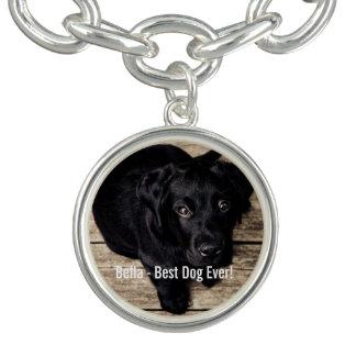 Nombre negro personalizado de la foto del perro pulsera con dije