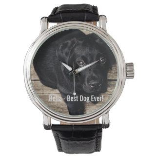 Nombre negro personalizado de la foto del perro relojes de pulsera