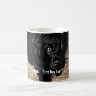 Nombre negro personalizado de la foto del perro taza clásica
