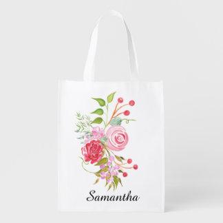 Nombre nupcial de la mezcla floral de la acuarela bolsas reutilizables