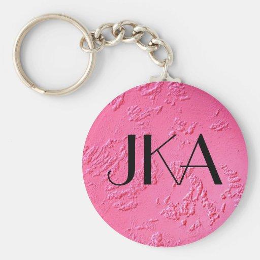 Nombre o iniciales personalizado rosa brillante llaveros personalizados