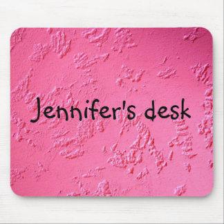 Nombre o iniciales personalizado rosa brillante alfombrillas de ratones