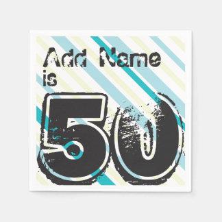 Nombre personalizado 50 años Bday - 50.a fiesta de Servilleta De Papel