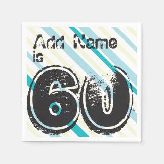 Nombre personalizado 60 años Bday - 60.a fiesta de Servilleta De Papel