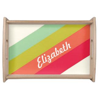 Nombre personalizado arco iris en colores pastel bandeja