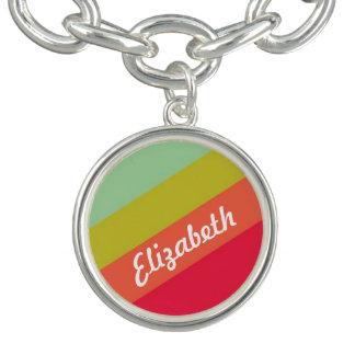 Nombre personalizado arco iris en colores pastel pulseras con dijer