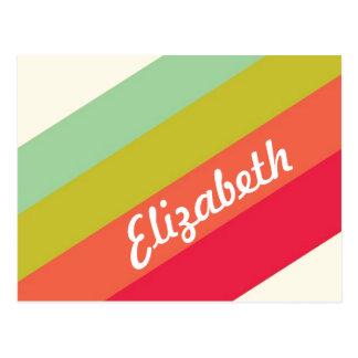 Nombre personalizado arco iris en colores pastel tarjetas postales