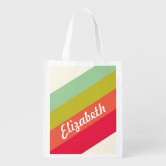 Nombre personalizado arco iris en colores pastel bolsas de la compra