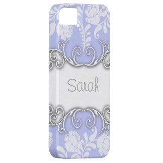 Nombre personalizado azul claro de los rosas blanc iPhone 5 protector