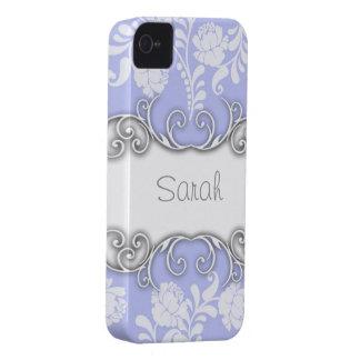 Nombre personalizado azul claro de los rosas blanc iPhone 4 Case-Mate coberturas