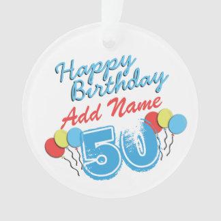 Nombre personalizado azul de 50 años Bday - 50.o