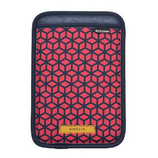 Nombre personalizado azul rosado oscuro geométrico funda iPad mini
