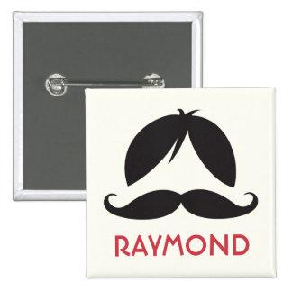 Nombre personalizado bigote de la peluca y del sta pins
