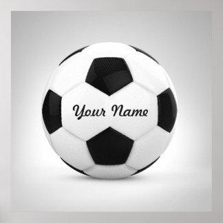 Nombre personalizado blanco y negro del balón de póster